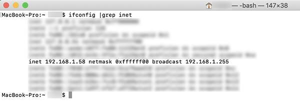 Адрес на MacOS